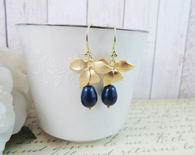 Blueberry - Gold Orchid Flower Faux Glass Navy Blue Pearl Earrings