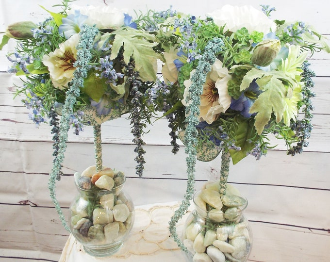 Blue Green Wisteria Morning Glory Spring Easter Wedding Party Flower Floral Home Decor Centerpieces Dining Room Topiary Set - Garden Party