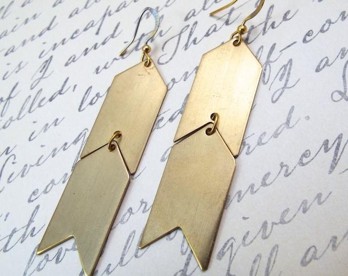 Tribal Gold Chevron Earrings - Brass Geometric Earrings