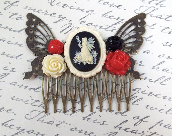 Victorian Goth Rose Fairy Hair Comb - Vintage Hair Accessory