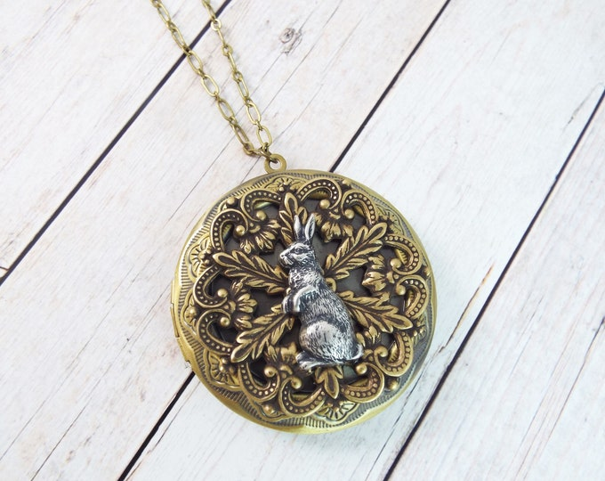 Large Round Brass Rabbit Keepsake Locket