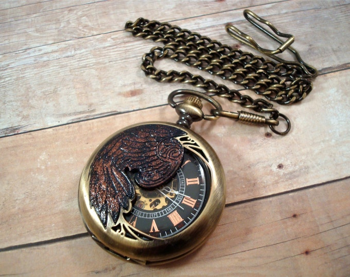 Steampunk Wing Skeleton Pocket Watch - Raven - Mechanical Exposed Gears