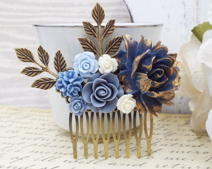 Winter Autumn Navy Bridal Comb