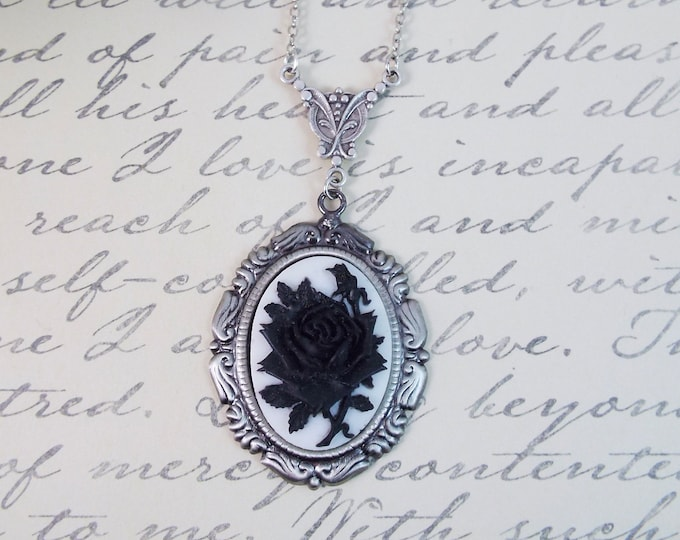 Victorian Black White Flower Floral Art Nouveau Cameo Y Necklace
