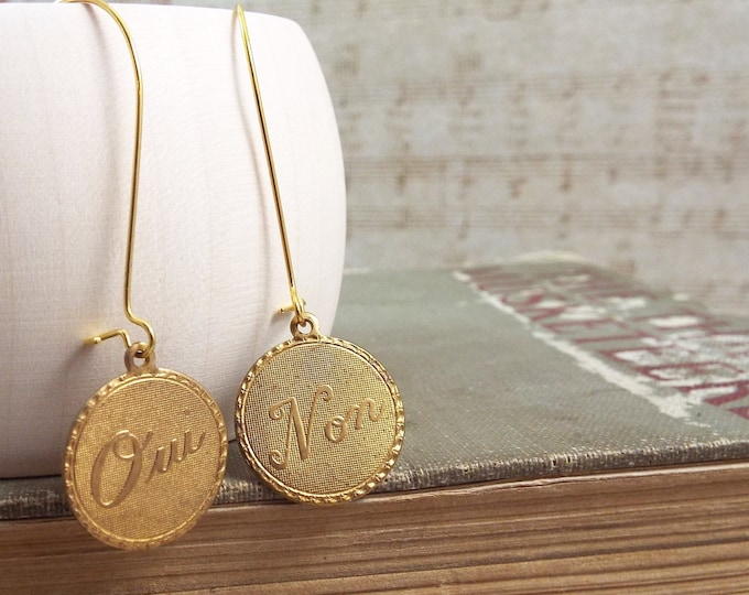 French Gold Coin Earrings - Indecision - Brass Geometric Earrings
