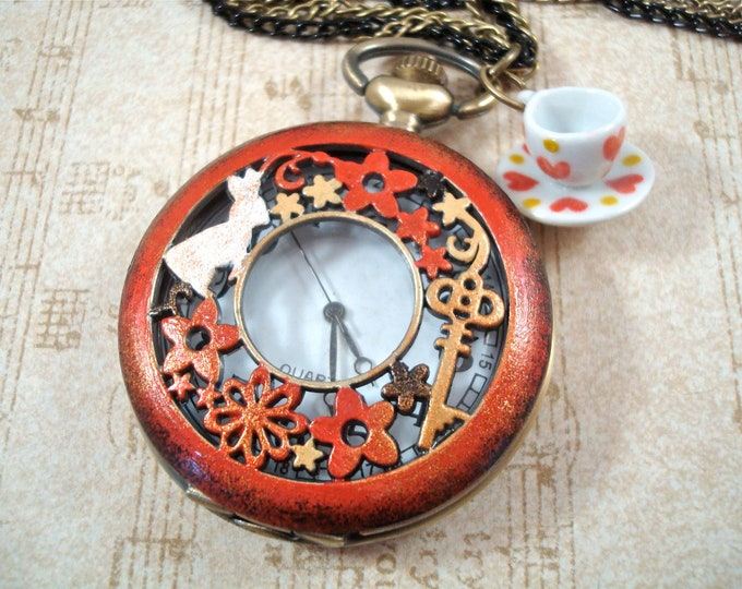 The White Rabbit - Enamel Pocket Watch Necklace Neo-Victorian Steampunk Shabby Chic - Alice In Wonderland