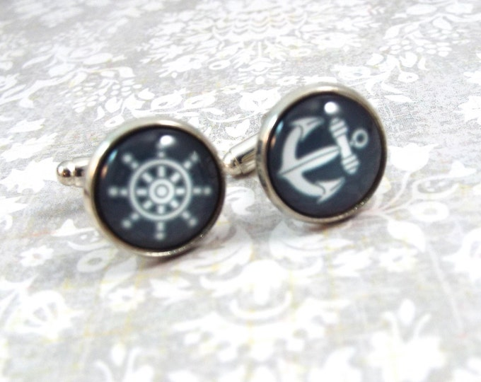 Nautical Anchor Ship's Wheel Cufflinks - Men's Accessories by Split Personality