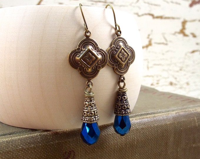 Moroccan Clover Tribal Drop Bohemian BOHO Blue Dangle Earrings - Split Personality Designs