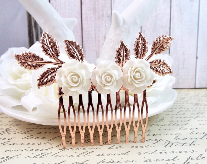 Rose Gold White Bridal Floral Spray Hair Comb - Modern Vintage Hair Accessory