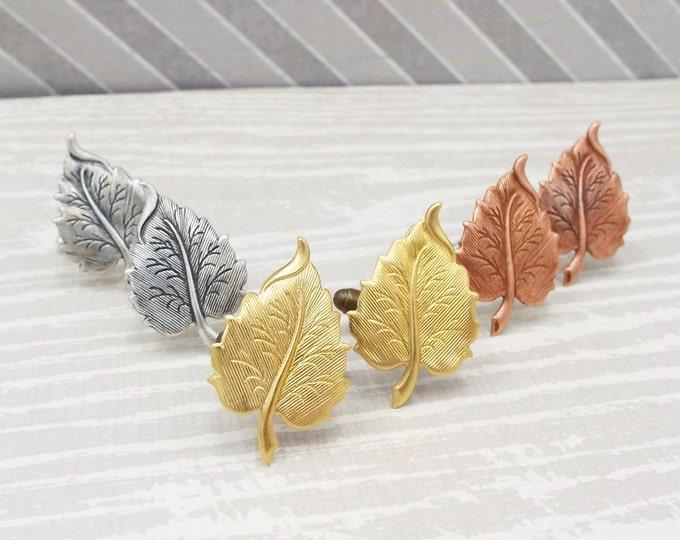 Rustic Leaf Cufflinks Gold, Rose Gold, Silver - Elm