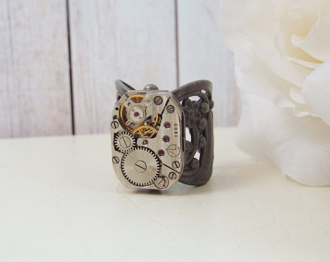 Steampunk Silver Watch Movement Statement Ring - A Drop In Time
