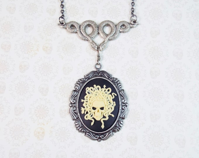 Medusa Snake Skull Cameo Necklace - Silver Serpent - Athena's Shield, Greek Mythology Gothic Goddess Jewelry