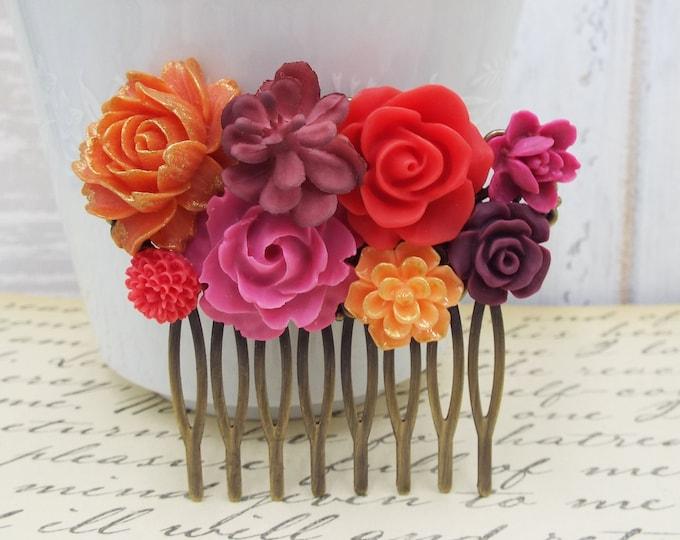 Desert Sunset Red Purple Orange Bridal Comb