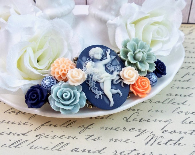 Baroque Cherub Navy Blue Orange Peach Hair Barrette - Vintage Hair Accessory