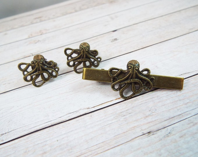 Antique Bronze Brass Octopus Cufflinks Tie Bar Clip - Cthulhu - Men's Accessories by Split Personality
