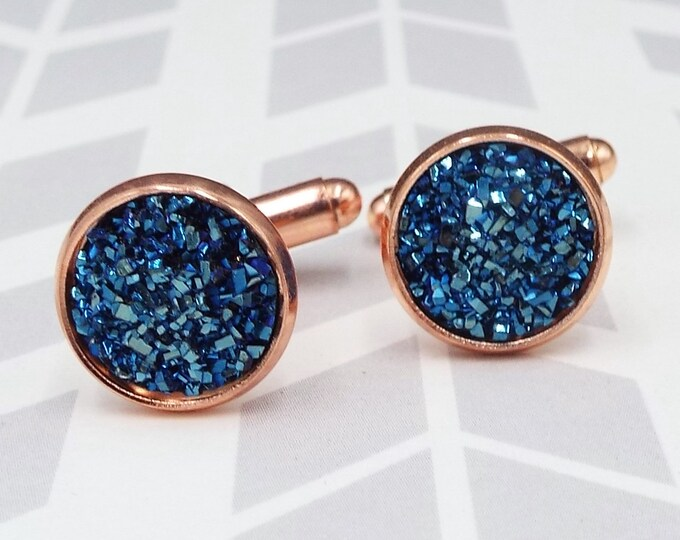 Navy Blue Faux Druzy Rose Gold Cuff Links