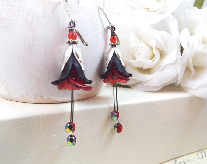 Black Red Silver Victorian Tulip Lolita Earrings - Gothic Flower Garden