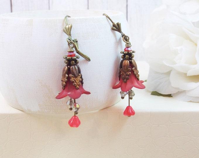 Dark Red, Ruby Victorian Oil Rubbed Brass Tulip Flower Tri-Stamen Earrings - Secret Garden - Bridesmaid Gifts Bridal Jewelry, Winter Wedding