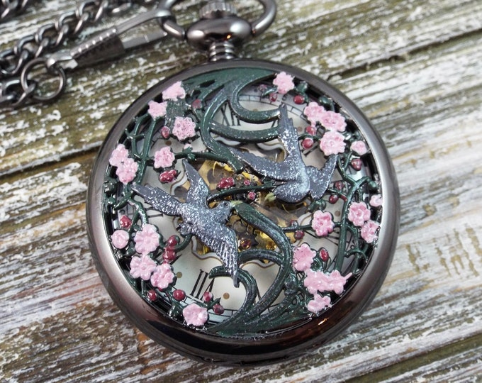 Birds in the Cherry Blossoms Black Mechanical Skeleton Watch - Exposed Gears