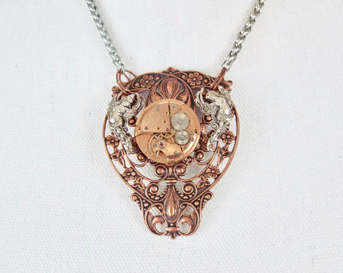 Rose Gold Steampunk Goddess Necklace - Flight of the Valkyries