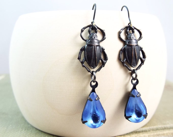 Black Egyptian Scarab Beetle Blue Drop Earrings - Isis - Split Personality Designs