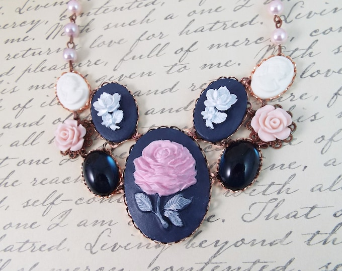 Rose Gold Navy Blue White Flower Bridal Pearl Necklace - Carved Lady Floral Cameo Bib - Modern Victorian by SPDJewelry