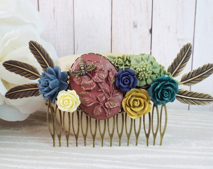 Vintage Autumn Fall Flower Wheat Large Bridal Hair Comb - Rustic Wedding - Teal Navy Terracotta Olive Rust Ivory Sage Green Mustard Yellow