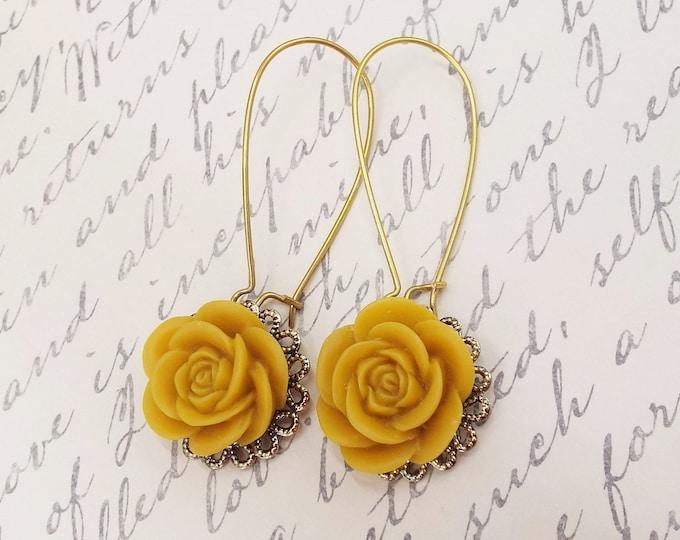 Mustard Rose Flower Long Gold Earrings