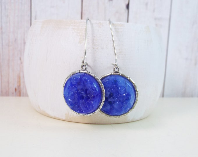 Cobalt Royal Blue Carved Glass Earrings