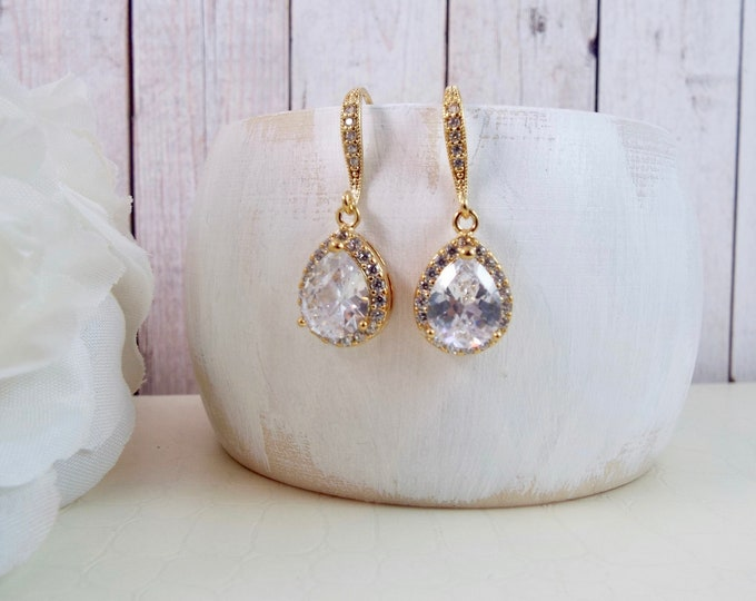 Yellow Gold Crystal Glass Drop Earrings - Bridal Jewelry
