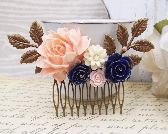 Blush Pink Flower Cobalt Navy Blue Bronze Gold Hair Comb