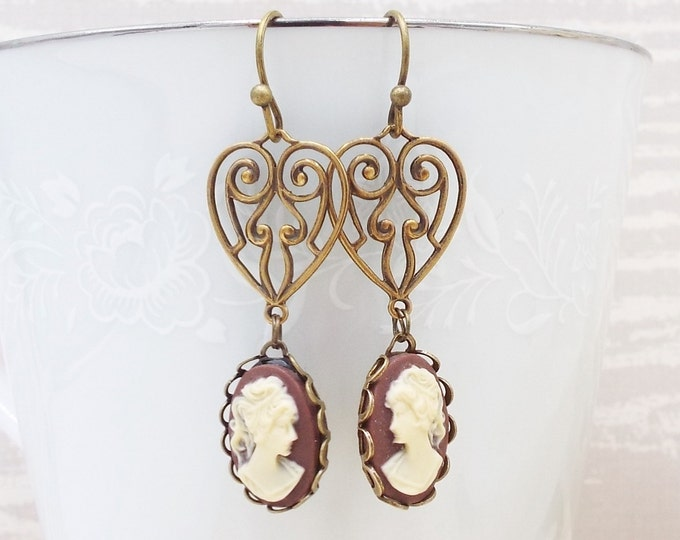 Victorian Brown Ivory Heart Filigree Cameo Drop Dangle Earrings
