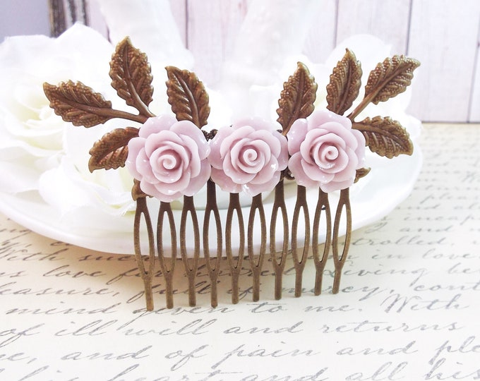Antique Rose Mauve Bridal Floral Spray Hair Comb - Modern Vintage Hair Accessory