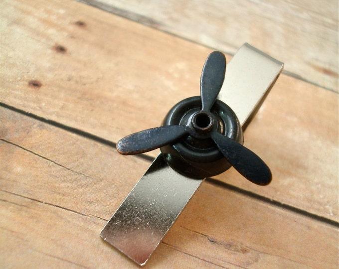 Black Airplane Propeller Tie Clip - Aero - Men's Accessorries by Split Personality
