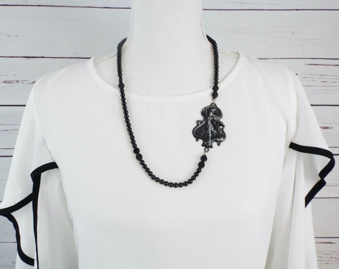 Gothic Goddess Necklace - Flight of the Valkyries - Black Victorian Beads - Norse Greek Mythology - Athena
