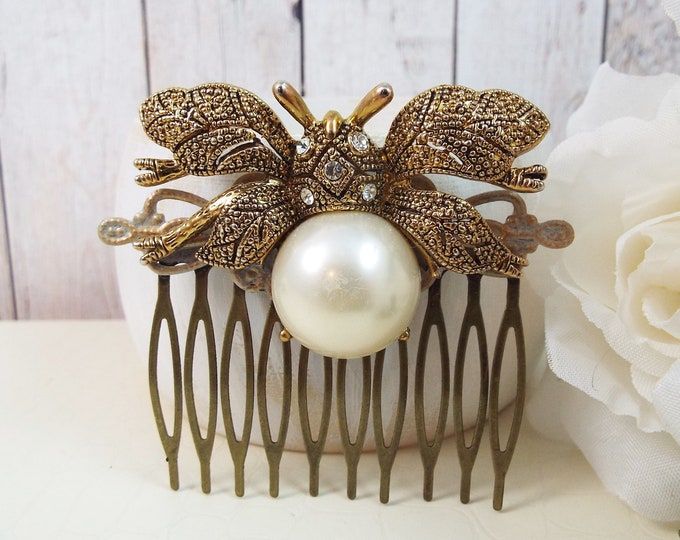Vintage Rhinestone Bee Bumblebee Brooch Pearl Bridal Gold Comb - Vintage Sparkle, Something Old - Wedding Hair Piece Jewelry