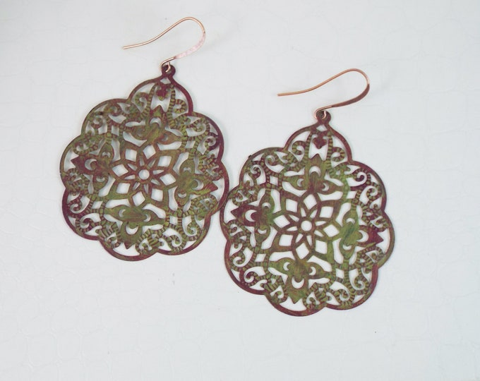 Large Bohemian Olive Green Mauve Filigree Statement Earrings - Moroccan - Boho Jewelry