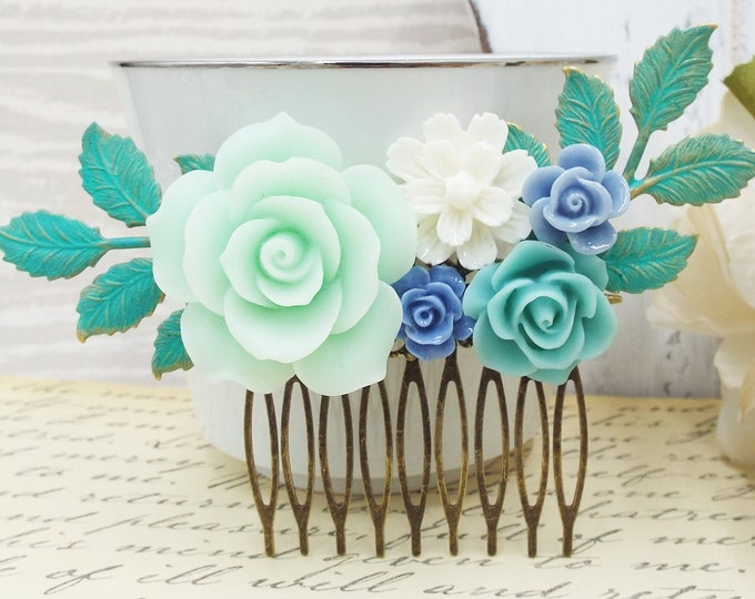 Dusty Blue Rose Mint Flower Rustic Verdigris Bridal Hair Comb