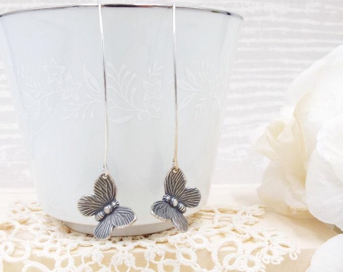 Mariposa Butterfly Modern Design Long Dangle Silver Earrings