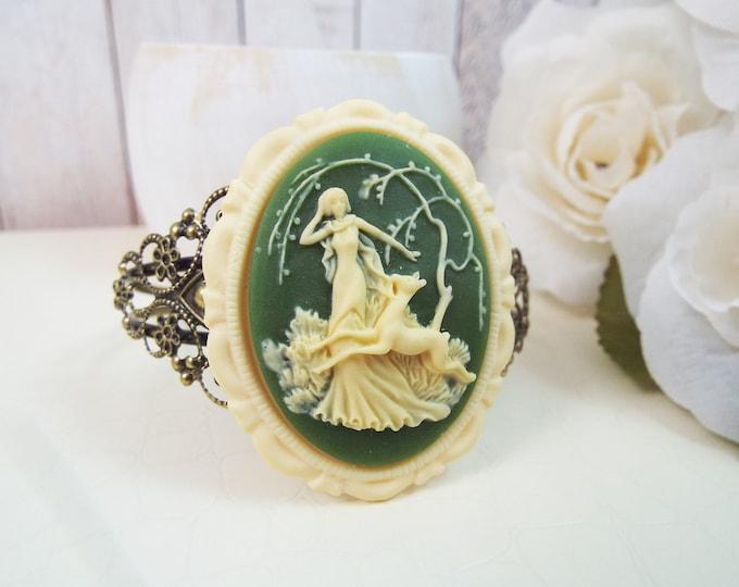 Artemis Deer Cuff Bracelet Olivine Ivory - Modern Victorian by SPDJewelry