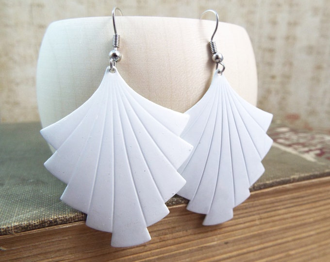 White Art Deco Fan Shield Earings - Enamel Geometric Earrings