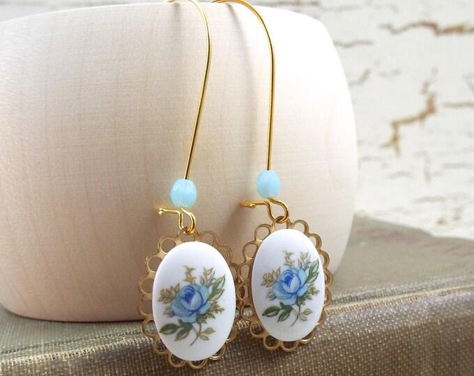 Sky Blue Rose Cameo Gold Long Dangle Earrings