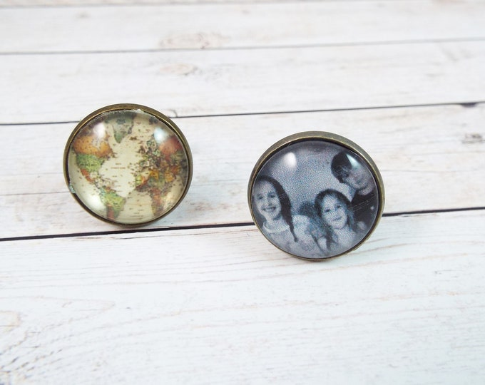 Custom Map or Photo Cuff Links - Fathers Day, Anniversary, Groomsmen Gift - Men's Accessories by Split Personality