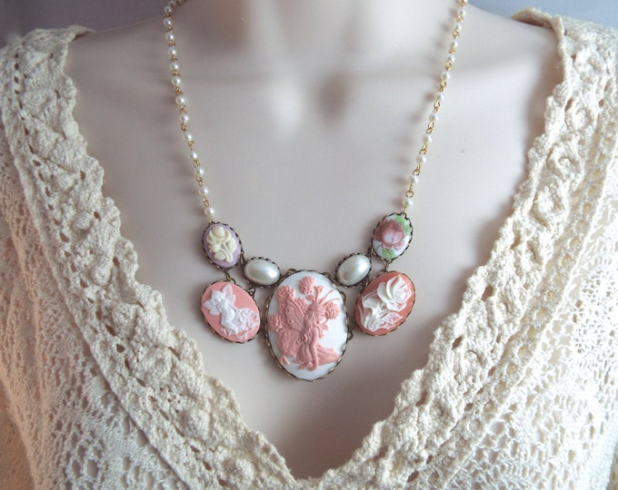 Pink Fairy Cameo Necklace- Mauve & White Pearl Bib - Modern Victorian by SPDJewelry
