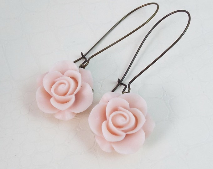 Light Pink Antique Rose Earrings Long Dangle Earrings - Bridesmaid Gift