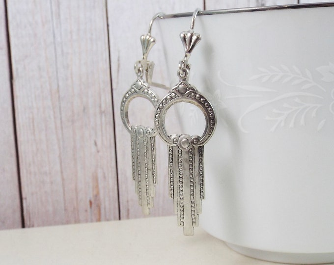 Modern Silver Art Deco Geometric Earrings - Circle Swag Earrings