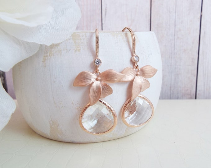 Rose Gold Orchid Flower Crystal Glass Bridal Jewelry Leaf Blossom Dangle Earrings Bridesmaids Gift Chandelier Nature Garden