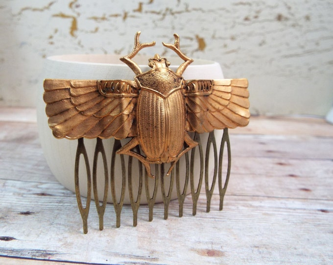 Egyptian Scarab Beetle Gold Hair Comb - Isis - Split Personality Designs
