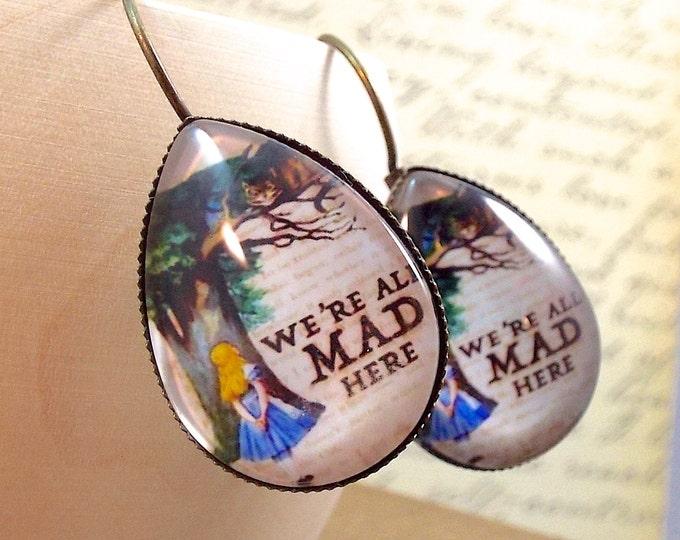 Modern Alice in Wonderland Chesire Cat Teardrop Earrings - Modern Antiquity by SPDJewelry