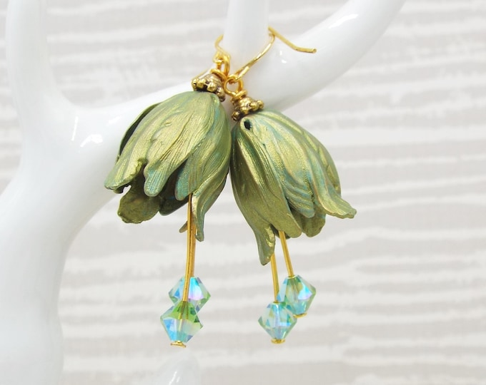 Absinthe Lime Green Blue Shimmer Bell Flower Earrings
